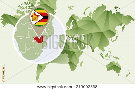 Infographic for Zimbabwe detailed map of Zimbabwe with flag. Vector Info graphic green map.