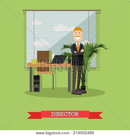 Vector illustration of businessman standing with arms crossed at his office. Creative director concept flat style design element.