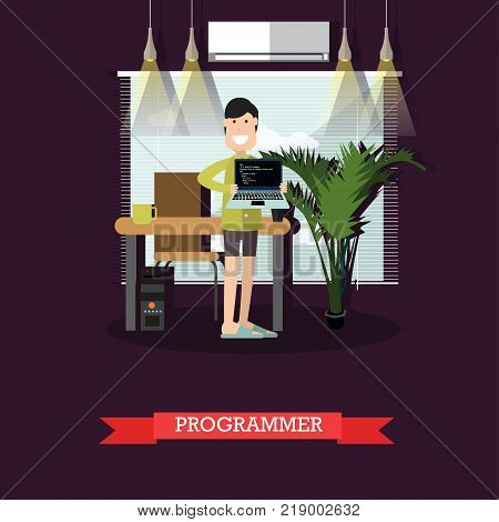 Vector illustration of young man holding laptop with program codes on screen. Programmer, creative team member concept flat style design element.