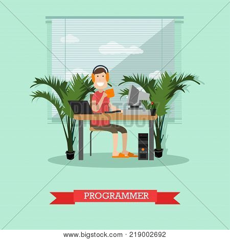 Vector illustration of young man system administrator working on computer. Programmer, creative team member concept flat style design element.