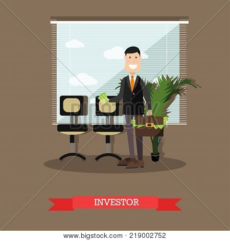 Vector illustration of confident businessman holding money in one hand and briefcase full of money in another hand. Investor flat style design element.