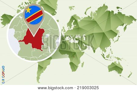 Infographic for Democratic Republic of the Congo detailed map of DRC with flag. Vector Info graphic green map.