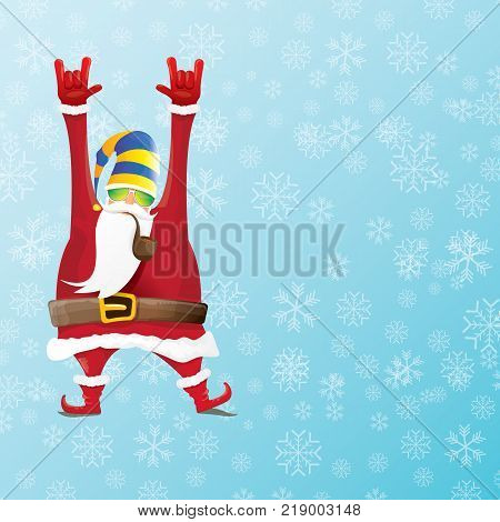 vector DJ santa claus with smoking pipe, santa beard and funky santa hat on blue background with snowflakes. Christmas hipster poster for party or greeting card. vector bad santa xmas background