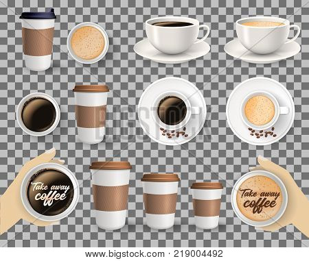 Set of to go and takeaway paper coffee cups in different sizes and coffee cups on saucers. Objects isolated on transparent background.