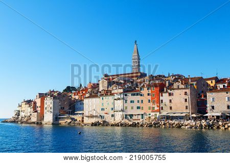 Medieval town of Rovinj colorful with houses and church in Croatia