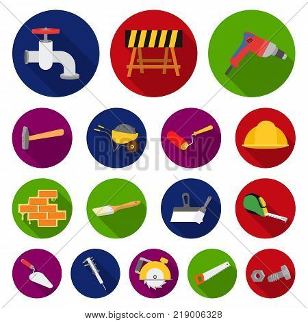Building and architecture flat icons in set collection for design. Construction and Institution vector symbol stock  illustration.