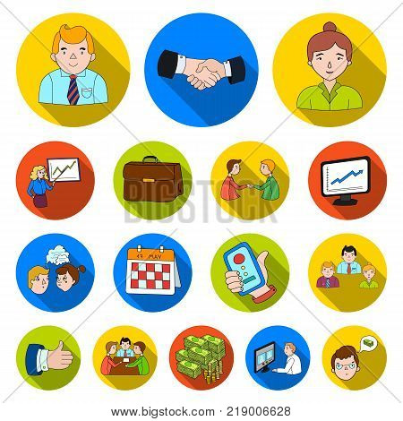 Business Conference And Negotiations flat icons in set collection for design.Business and training vector symbol stock  illustration.