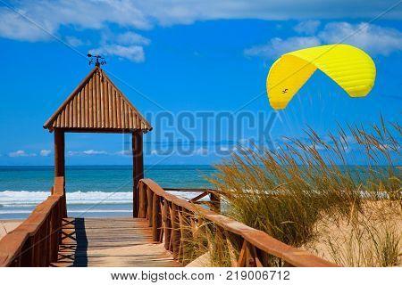 Footbridge of access to Cortadura's beach in Cadiz