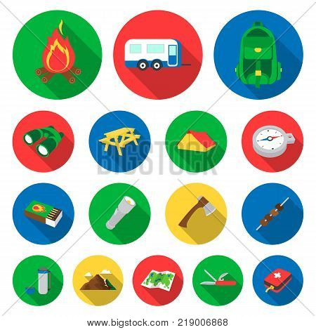 Rest in the camping flat icons in set collection for design. Camping and equipment vector symbol stock  illustration.
