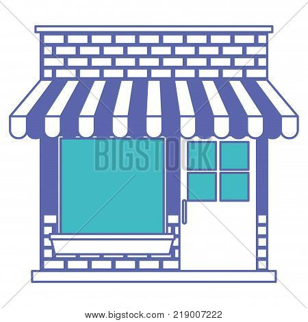 store facade with sunshade in blue and purple color sections silhouette vector illustration