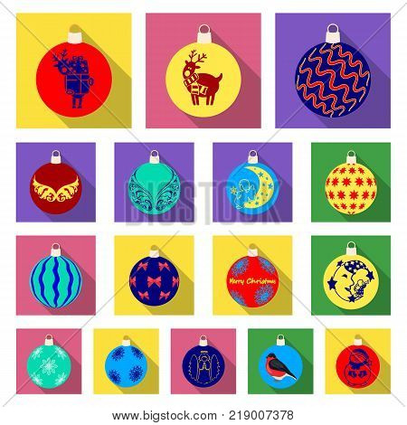 Christmas toys flat icons in set collection for design.New Year balls vector symbol stock illustration.