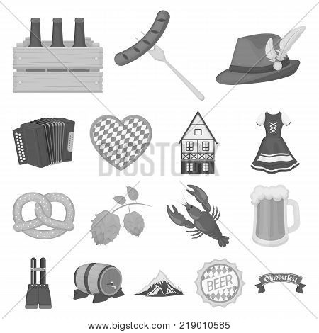 October festival in Munich monochrome icons in set collection for design.Tradition and fun vector symbol stock  illustration.