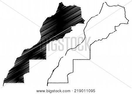 Morocco and Western Sahara map vector illustration , scribble sketch Kingdom of Morocco