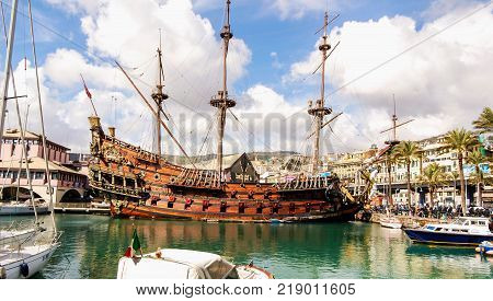 galleon moored at in the port of Genoa, Italy