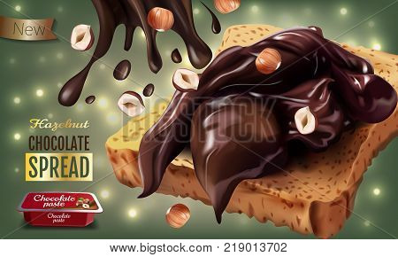 Vector realistic illustration of milk chocolate spread with hazelnuts. Horizontal ads poster with bokeh background.
