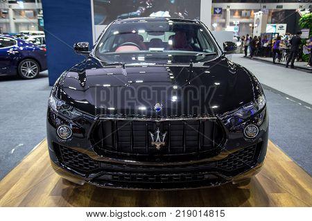 Bangkok Thailand - December 11 2017: Maserati Levante crossover SUV presented in Motor Expo 2017