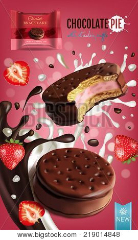 Vector realistic illustration of chocolate pie with milk and strawberry souffle. Vertical ads poster with bokeh background.