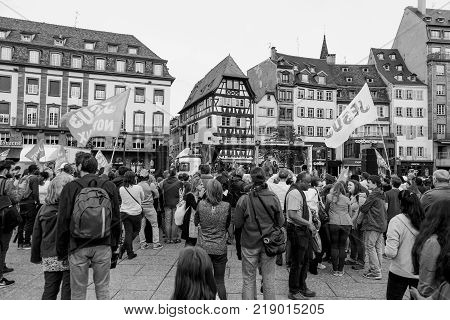STRASBOURG FRANCE - MAY 30 2015: Black and white image from March for Jesus the annual interdenominational event by Christians in Place Kleber