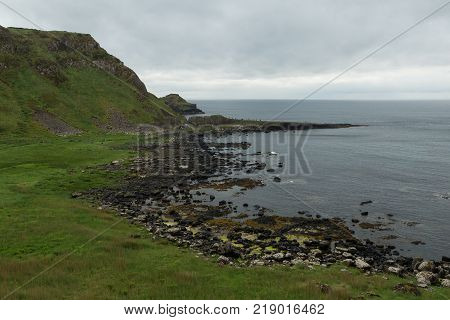 view of the Giant's Causeway on the northern coast of Northern Ireland
