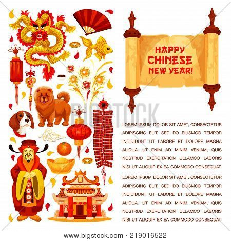 Happy Chinese New Year hieroglyph greeting on paper scroll and traditional symbols of China lunar year holiday. Vector golden dragon and red paper lantern, China emperor at temple and gold sycee ingot