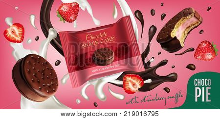 Vector realistic illustration of chocolate pie with milk and strawberry souffle. Horizontal ads poster with sweet.