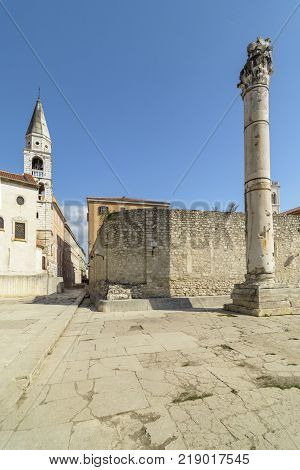 Pillar of Shame in front of the St Elias's Church in Zadar Croatia