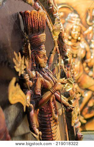 Clay made Goddess Durga terracotta handicrafts of Bankura and Bishnupur on display during the Handicraft Fair in Kolkata West Bengal India. It is the biggest handicrafts fair in Asia.