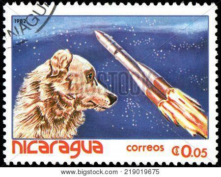 NICARAGUA - CIRCA 1982: A stamp, printed in Nicaragua, shows Dog-cosmonaut Laika