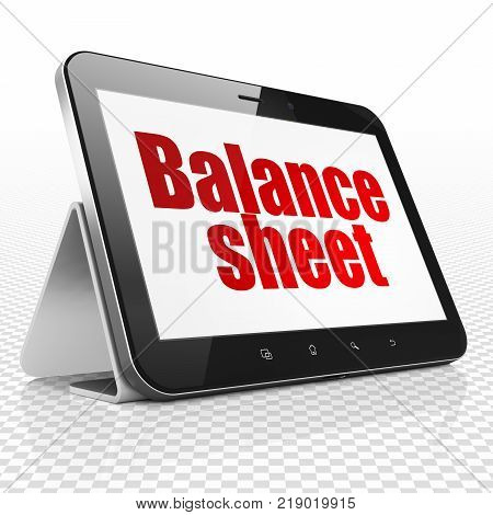 Money concept: Tablet Computer with red text Balance Sheet on display, 3D rendering
