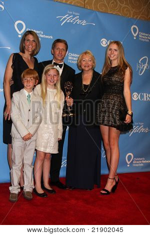 LAS VEGAS - JUNE 19:  Collen Bell, Brad Bell, children, and Brad's mom Lee Phillip Bell in the Press Room of the  38th Daytime Emmy Awards at Hilton Hotel & Casino on June 19, 2010 in Las Vegas, NV.