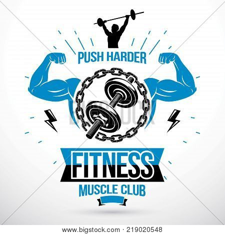 Disc weight dumbbell surrounded by steel chain and composed with muscular athletic biceps arms. Gym conceptual vector emblem