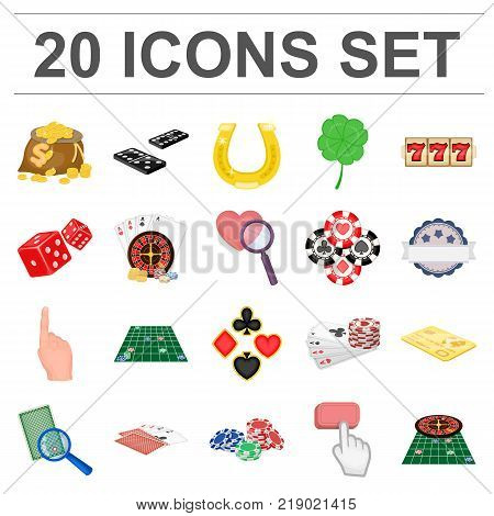 Casino and equipment cartoon icons in set collection for design. Gambling and money vector symbol stock  illustration.