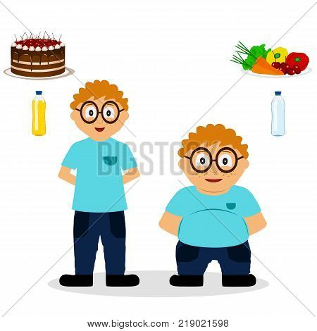 Thin and fat. Proper nutrition. From fat to thin. Before and after. Healthy Lifestyle. The boy becomes thin. Isolated objects. Vector illustration.