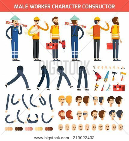 Flat colored male worker character constructor composition with isolated elements legs hands and heads vector illustration
