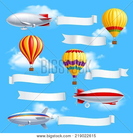 Colored advertising banners composition dirigible and air balloons with attached white fabric banners vector illustration