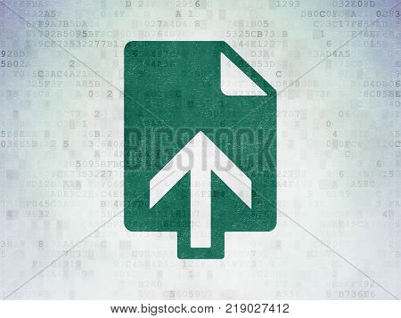 Web development concept: Painted green Upload icon on Digital Data Paper background