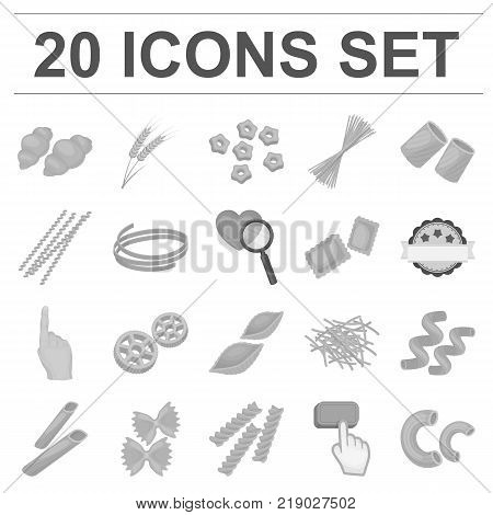 Types of pasta monochrome icons in set collection for design. Figured macaroni for eating vector symbol stock  illustration.