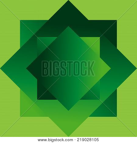 vector illustration geometric shapes in the form of squares of green color with a gradient arranged one above the other on a light green background.