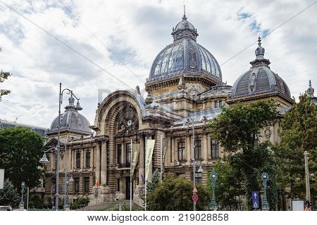 Bucharest, Romania - September 9, 2017: Side view of the The CEC Palace The Palace of the Savings Bank in the historical center Lipscani Street, Bucharest, Romania.