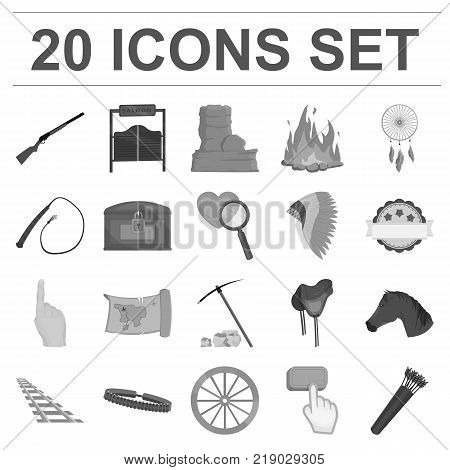 Attributes of the wild west monochrome icons in set collection for design.Texas and America vector symbol stock  illustration.