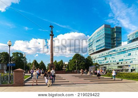 Moscow, Russia - July 24. 2017. The Trubnaia area and a monument to the dead policemen