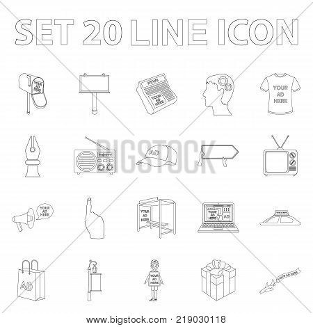 Production of advertising outline icons in set collection for design. Advertising equipment vector symbol stock  illustration.