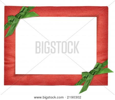 Red New Year Frame With Green Bows