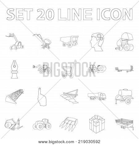 Agricultural machinery outline icons in set collection for design. Equipment and device vector symbol stock  illustration.