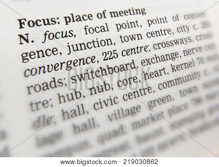 CLECKHEATON, WEST YORKSHIRE, UK: THESAURAS PAGE SHOWING DEFINITION OF FOCUS PLACE OF MEETING, 30TH MARCH 2005, CLECKHEATON, WEST YORKSHIRE, UK