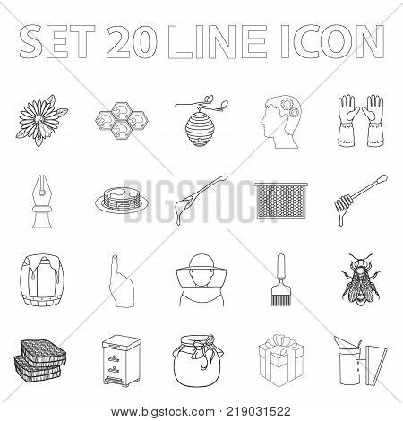 Apiary and beekeeping outline icons in set collection for design.Equipment and production of honey vector symbol stock  illustration.