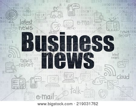 News concept: Painted black text Business News on Digital Data Paper background with  Scheme Of Hand Drawn News Icons