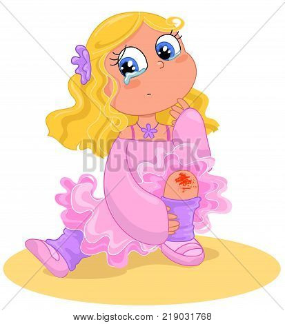 Cartoon blonde dancer who falls and bleeds vector illustration