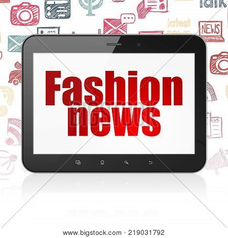 News concept: Tablet Computer with  red text Fashion News on display,  Hand Drawn News Icons background, 3D rendering