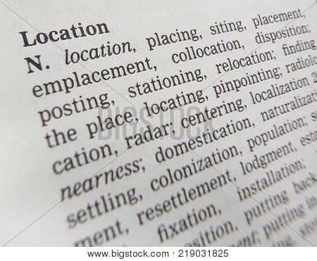 CLECKHEATON, WEST YORKSHIRE, UK: THESAURUS PAGE SHOWING DEFINITION OF WORD LOCATION, 30TH MARCH 2005, CLECKHEATON, WEST YORKSHIRE, UK